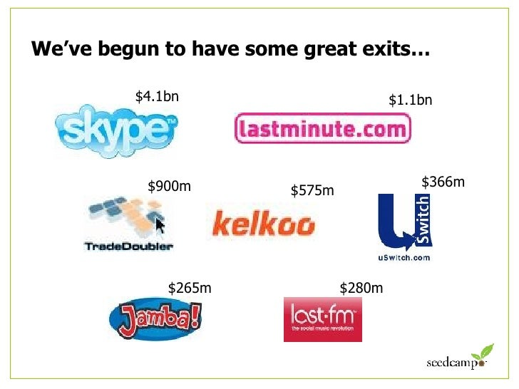 We've begun to have some great exits… $4.1bn $1.1bn $366m $900m $575m $265m $280m