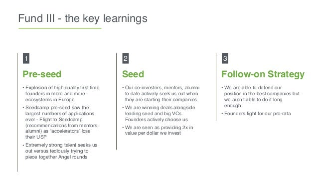 Fund III - the key learnings • Explosion of high quality first time founders in more and more ecosystems in Europe • Seedca...