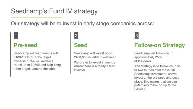 Seedcamp's Fund IV strategy Pre-seed Seedcamp will lead rounds with £100-150k for 7.5% target ownership. We will anchor a ...