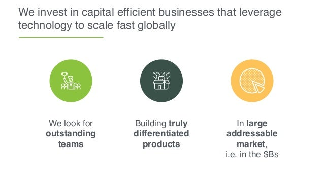 We invest in capital efficient businesses that leverage technology to scale fast globally Building truly differentiated pro...