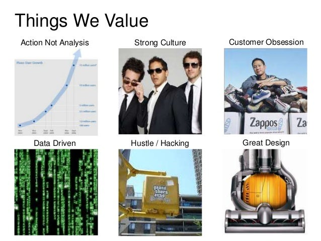Things We ValueAction Not Analysis   Strong Culture     Customer Obsession   Data Driven        Hustle / Hacking      Grea...
