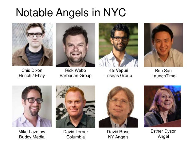 Notable Angels in NYC Chis Dixon      Rick Webb         Kal Vepuri      Ben SunHunch / Ebay   Barbarian Group   Trisiras G...