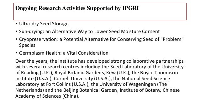 Seed Conservation A Global Approach