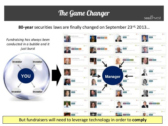 The Game Changer 80-year securities laws are finally changed on September 23rd, 2013… But fundraisers will need to leverag...