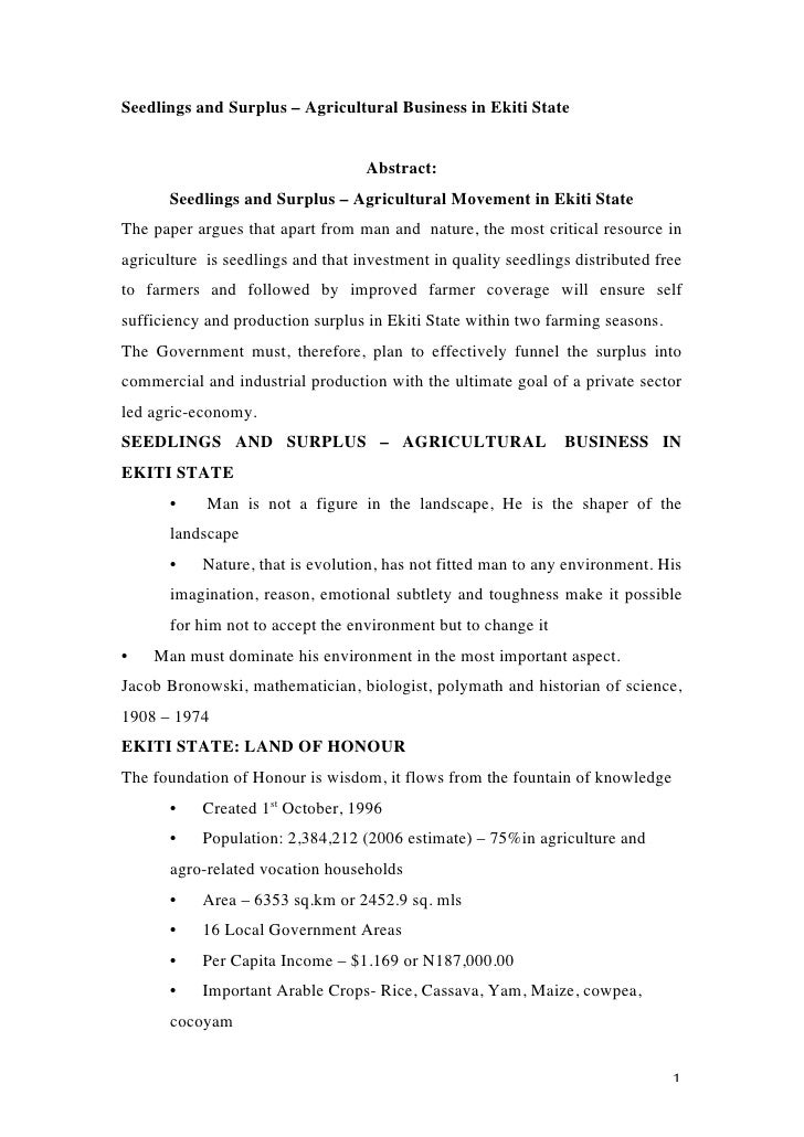 Seedlings and Surplus – Agricultural Business in Ekiti State                                    Abstract:         Seedling...
