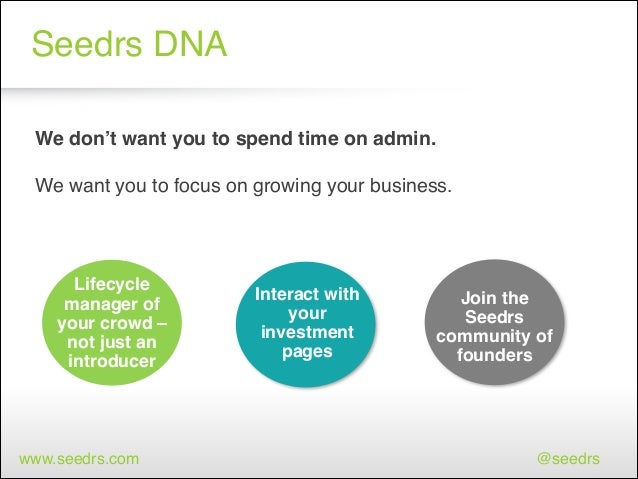 Seedrs DNA We don't want you to spend time on admin. !  ! We want you to focus on growing your business.  1 Lifecycle mana...