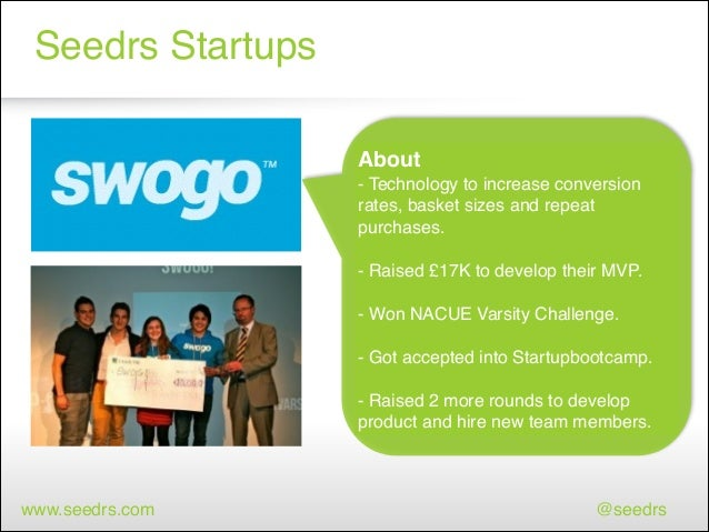 Seedrs Startups About ! - Technology to increase conversion rates, basket sizes and repeat purchases.! ! - Raised £17K to ...