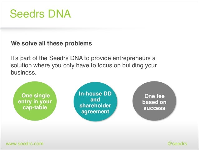 Seedrs DNA We solve all these problems!  ! It's part of the Seedrs DNA to provide entrepreneurs a solution where you only ...