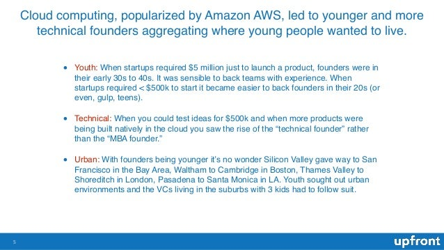 Cloud computing, popularized by Amazon AWS, led to younger and more technical founders aggregating where young people want...
