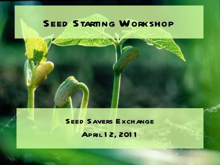 Seed Starting Workshop <ul><li>Seed Savers Exchange </li></ul><ul><li>April 12, 2011 </li></ul>