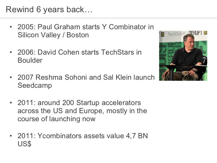 Rewind 6 years back… <ul><li>2005: Paul Graham starts Y Combinator in Silicon Valley / Boston  </li></ul><ul><li>2006: Dav...