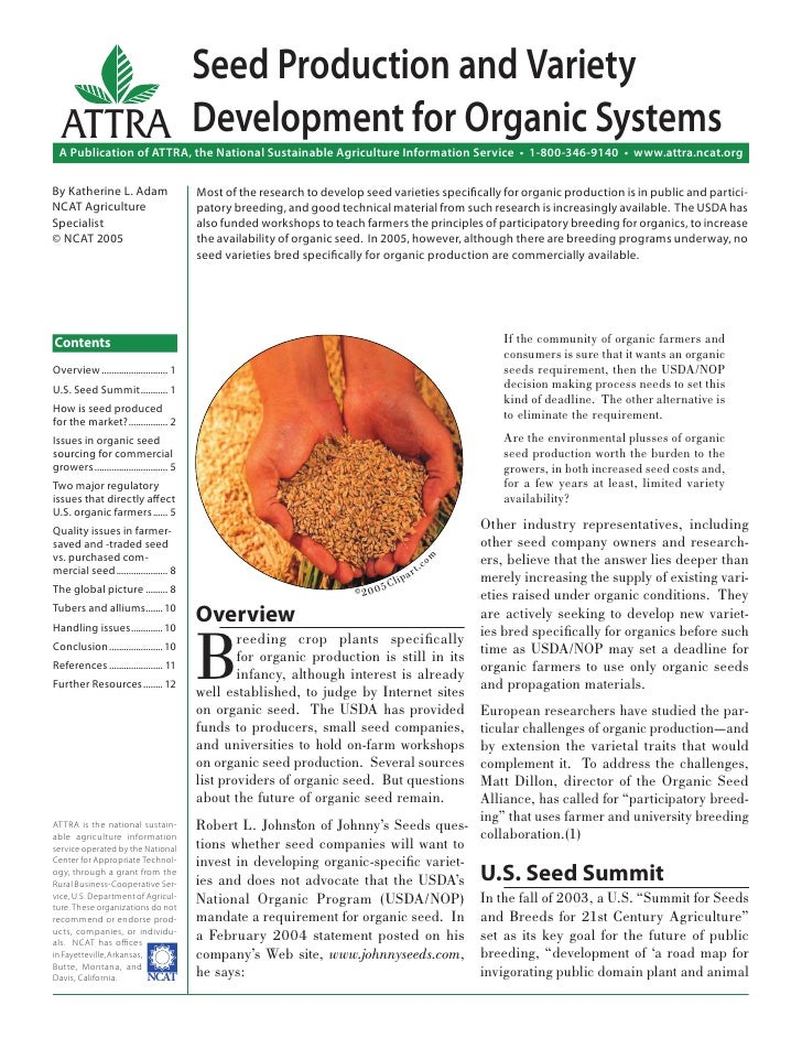 Seed Production and Variety  ATTRA Development for Organic Systems  A Publication of ATTRA, the National Sustainable Agric...