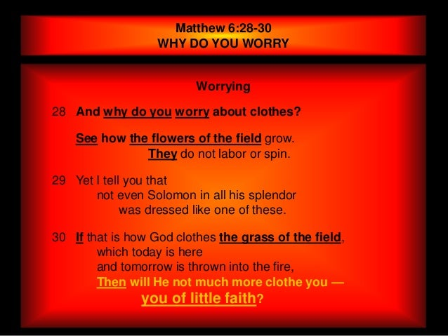Matthew 6:28-30                   WHY DO YOU WORRY                          Worrying28 And why do you worry about clothes?...
