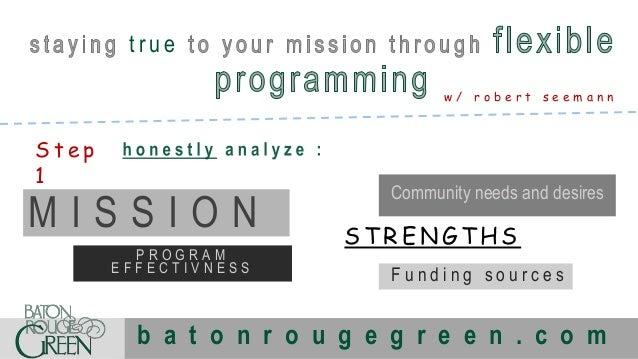 true w/ robert seemann  Step 1  MISSION PROGRAM EFFECTIVNESS  Community needs and desires  STRENGTHS Funding sources  b a ...