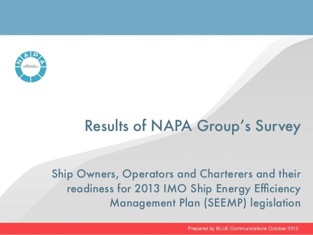 Results of NAPA Group's SurveyShip Owners, Operators and Charterers and their   readiness for 2013 IMO Ship Energy Efficien...