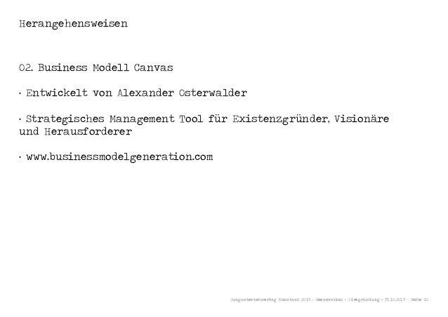 Herangehensweisen  02. Business Modell Canvas · Entwickelt von Alexander Osterwalder · Strategisches Management Tool für E...