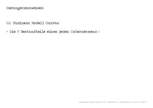 Herangehensweisen  02. Business Modell Canvas + Die 9 Bestandteile eines jeden Unternehmens :  Jungunternehmertag Konstanz...