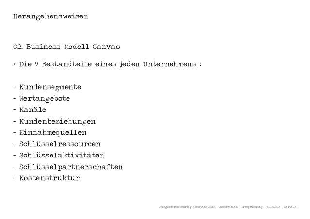 Herangehensweisen  02. Business Modell Canvas + Die 9 Bestandteile eines jeden Unternehmens : - Kundensegmente - Wertangeb...
