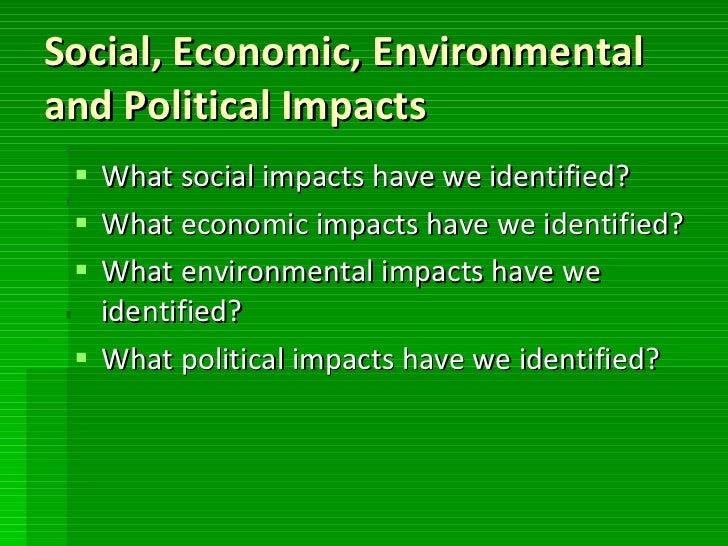 social economic and environmental impacts in Environmental, economic and social impacts of irrigation in the mackenzie basin  iii disclaimer the information collected and presented in this report by the.