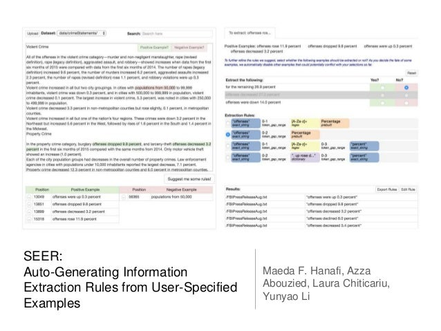 SEER: Auto-Generating Information Extraction Rules from User-Specified Examples Maeda F. Hanafi, Azza Abouzied, Laura Chit...