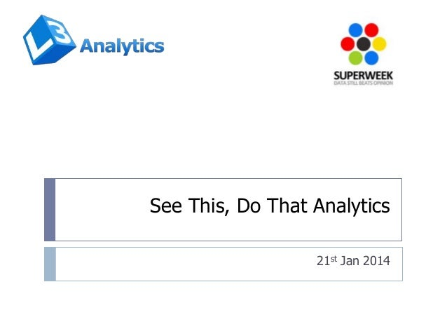 See This, Do That Analytics 21st Jan 2014