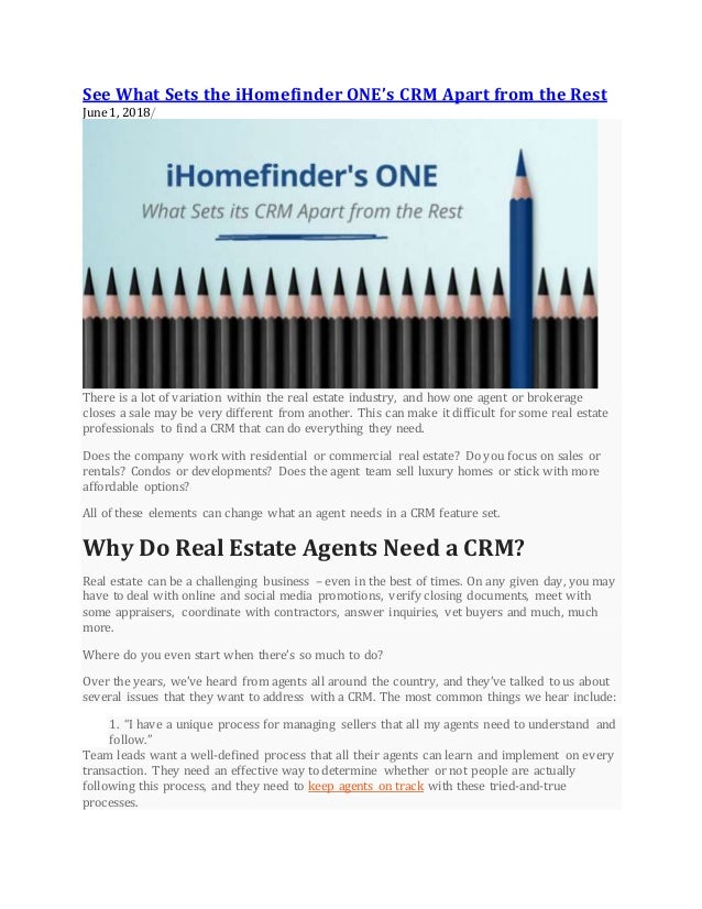 See what sets i homefinder on es crm apart from the rest