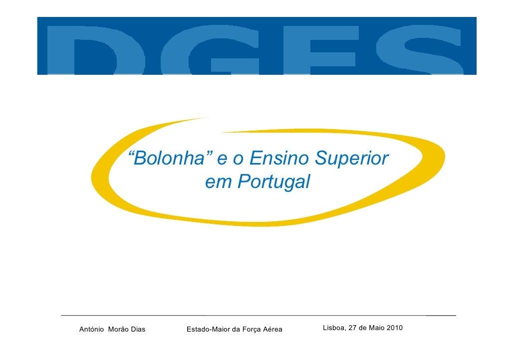 """""""Bolonha"""" e o Ensino Superior                     em Portugal     António Morão Dias   Estado-Maior da Força Aérea   Lisbo..."""