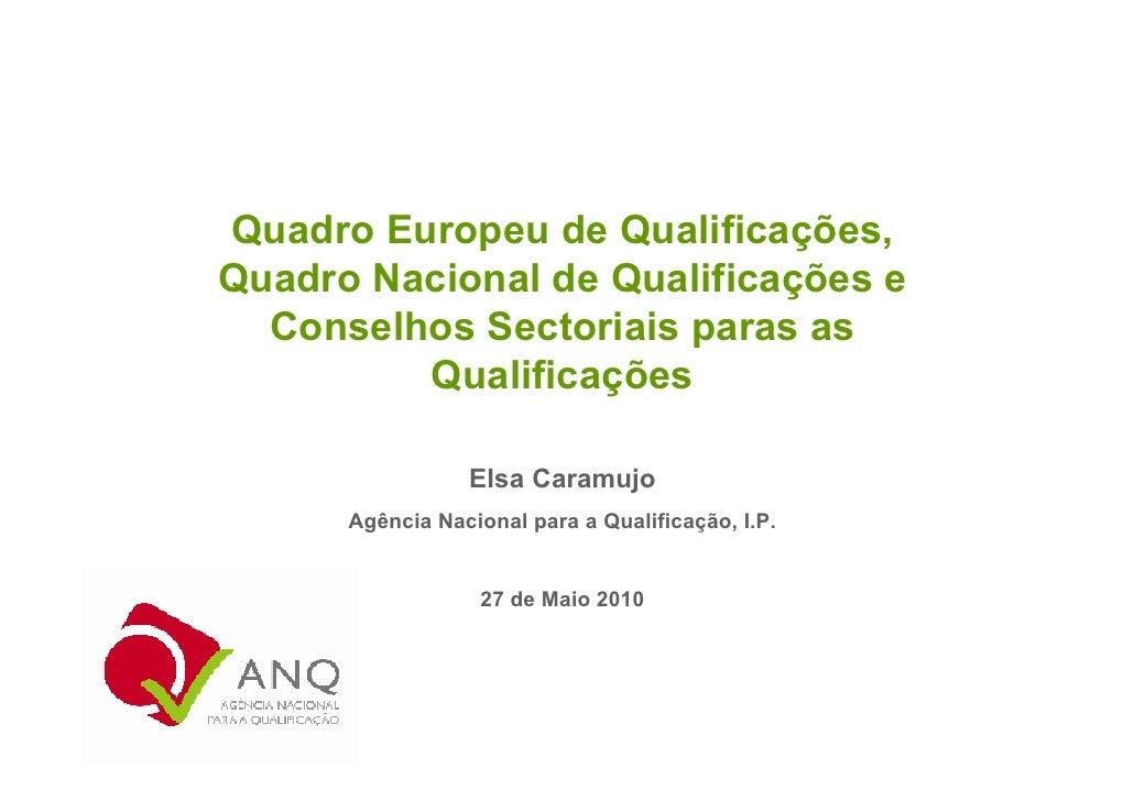 Quadro Europeu de Qualificações, Quadro Nacional de Qualificações e   Conselhos Sectoriais paras as          Qualificações...