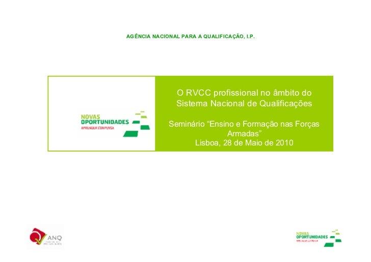 AGÊNCIA NACIONAL PARA A QUALIFICAÇÃO, I.P.                     O RVCC profissional no âmbito do                 Sistema Na...
