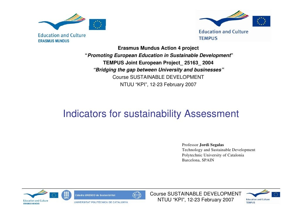 "Erasmus Mundus Action 4 project     ""Promoting European Education in Sustainable Development""            TEMPUS Joint Euro..."