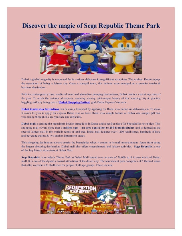 Relish the plethora of amusements at Sega Republic Theme Park