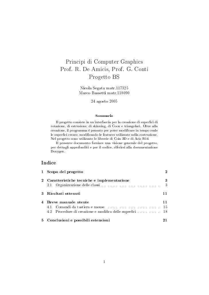 Principi di Computer Graphics            Prof. R. De Amicis, Prof. G. Conti                        Progetto BS            ...