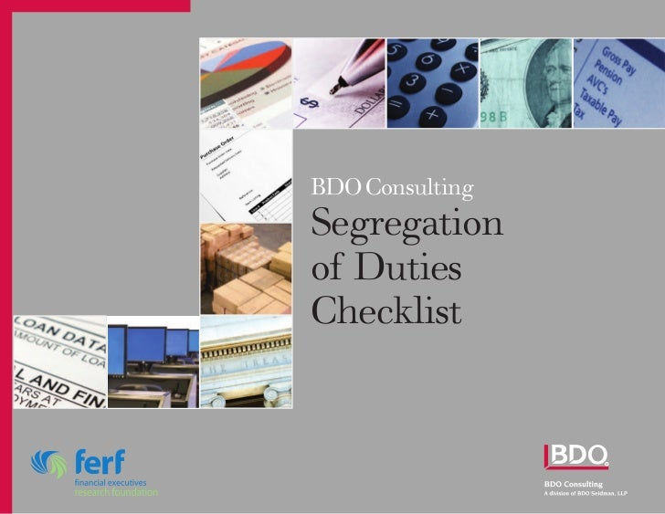 BDO ConsultingSegregationof DutiesChecklist