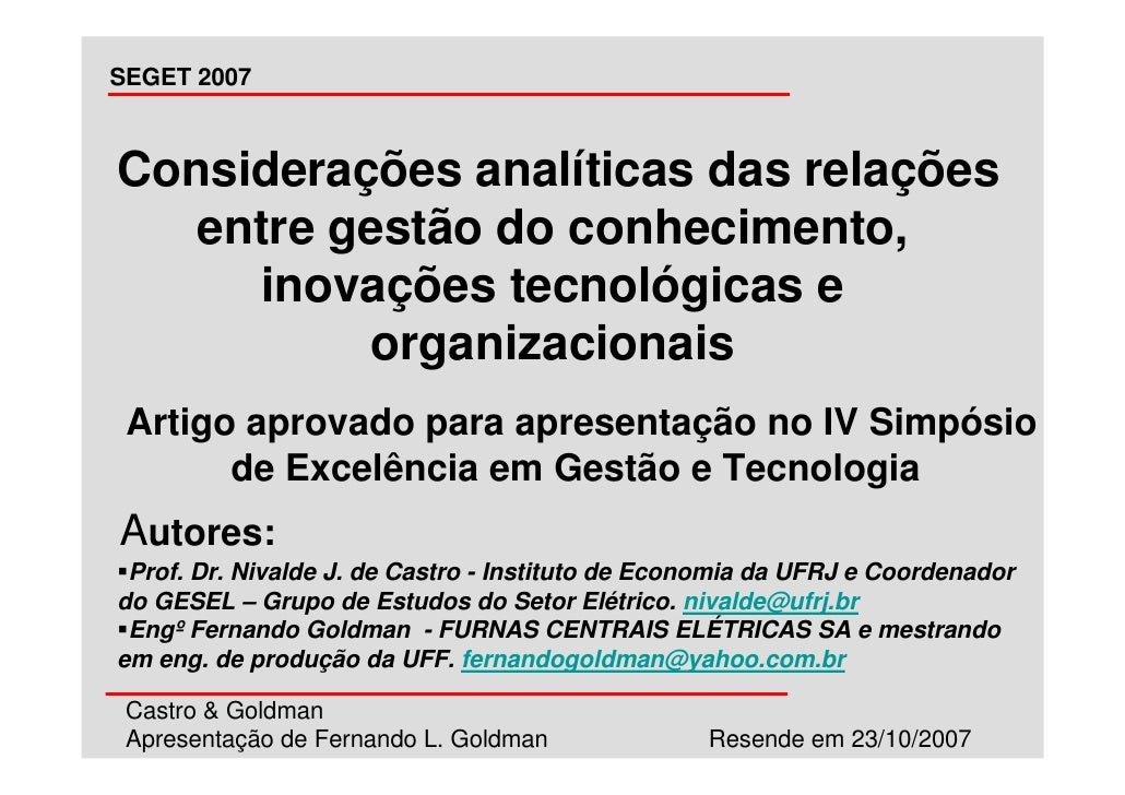 SEGET 2007    Considerações analíticas das relações    entre gestão do conhecimento,      inovações tecnológicas e        ...