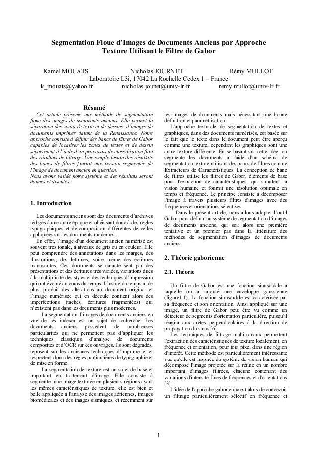 Segmentation Floue d'Images de Documents Anciens par Approche                        Texture Utilisant le Filtre de Gabor ...