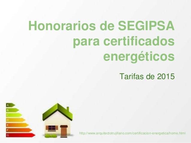 Tarifas para Certificación energética