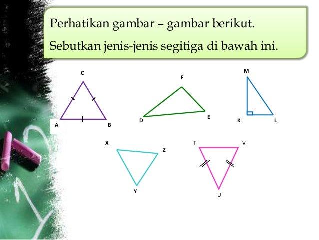 Perhatikan gambar – gambar berikut.Sebutkan jenis-jenis segitiga di bawah ini.     C                                      ...