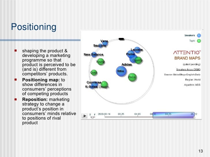 Positioning <ul><li>shaping the product & developing a marketing programme so that product is perceived to be (and is) dif...