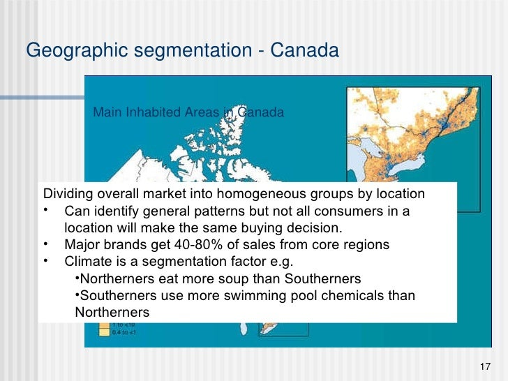Main Inhabited Areas in Canada Geographic segmentation - Canada <ul><li>Dividing overall market into homogeneous groups by...