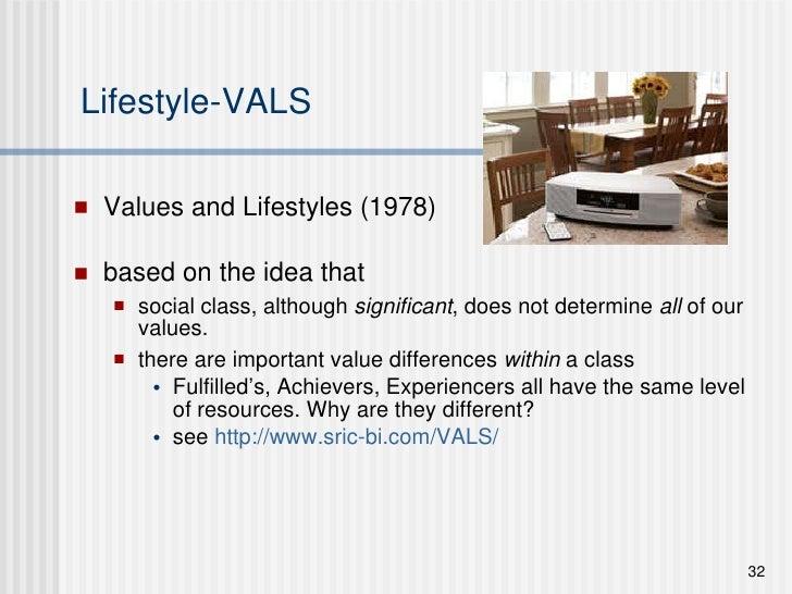 Lifestyle-VALS <ul><li>Values and Lifestyles (1978)  </li></ul><ul><li>based on the idea that  </li></ul><ul><ul><li>socia...