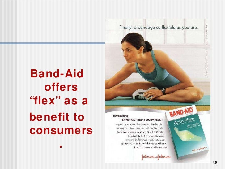 """Band-Aid offers """"flex"""" as a  benefit to consumers."""