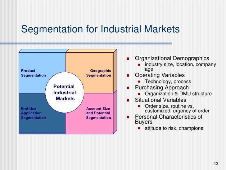 Segmentation for Industrial Markets <ul><li>Organizational Demographics </li></ul><ul><ul><li>industry size, location, com...