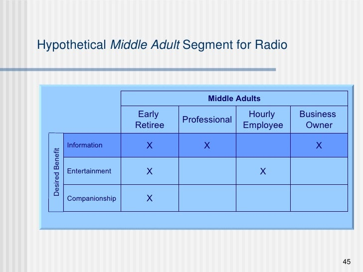 Hypothetical  Middle Adult  Segment for Radio Early  Retiree Hourly  Employee Business  Owner Professional Information X X...