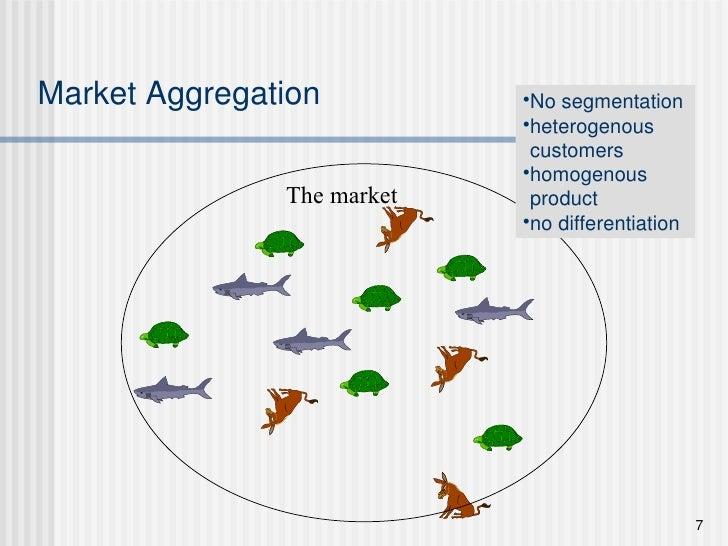 Market Aggregation The market <ul><li>No segmentation </li></ul><ul><li>heterogenous customers </li></ul><ul><li>homogenou...