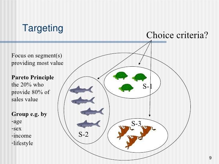 Targeting S-1 S-2 S-3 <ul><li>Focus on segment(s) </li></ul><ul><li>providing most value </li></ul><ul><li>Pareto Principl...