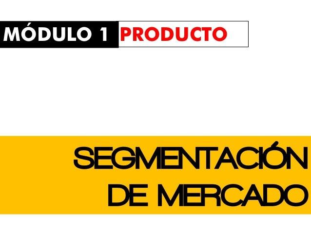 SEGMENTACIÓN DE MERCADO MÓDULO 1 PRODUCTO