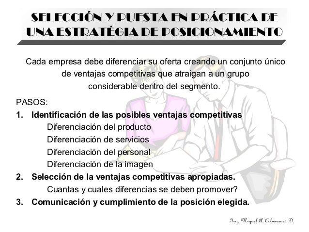 SELECCIÓN Y PUESTA EN PRÁCTICA DE  UNA ESTRATÉGIA DE POSICIONAMIENTO  Cada empresa debe diferenciar su oferta creando un c...