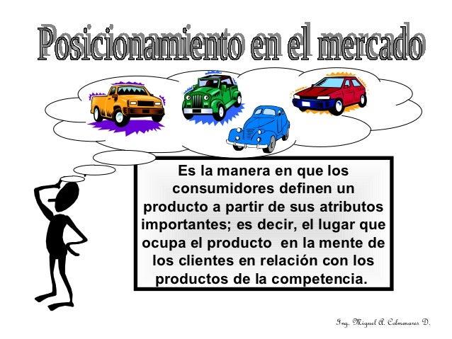 Es la manera en que los     consumidores definen un producto a partir de sus atributosimportantes; es decir, el lugar queo...