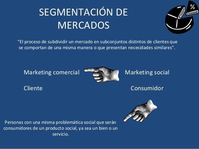 """SEGMENTACIÓN DE                    MERCADOS      """"El proceso de subdividir un mercado en subconjuntos distintos de cliente..."""