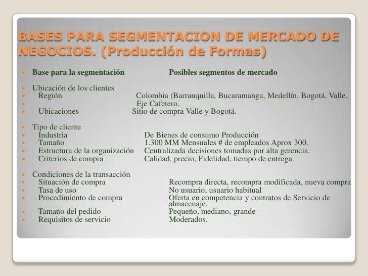 BASES PARA SEGMENTACION DE MERCADO DE NEGOCIOS. (Producción de Formas)<br />Base para la segmentaciónPosibles segmentos ...
